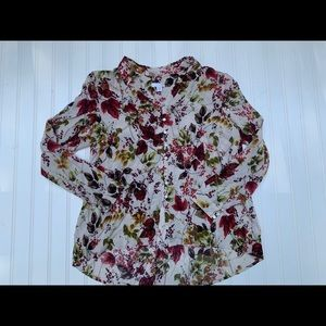 JJill  Shirt Rayon Small Petite Floral Fall Tunic
